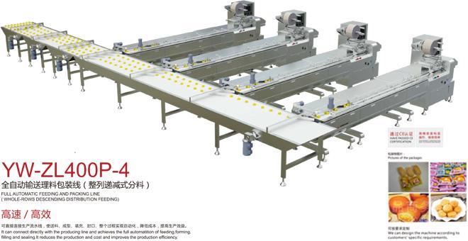 YW-ZL400P-4全自动输送理料包装线(整列递减式分料)