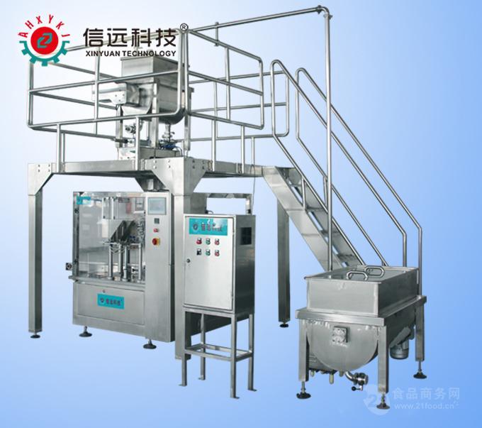 振料 → 热封 → 整型输出成品 工作原理: 火锅调料预制袋包装机采用