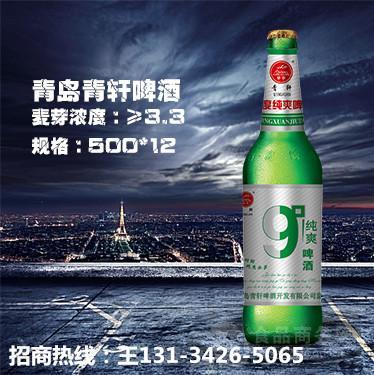 青岛青轩9度啤酒招商|大瓶特色啤酒招商