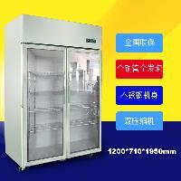 大二门玻璃门商用厨房冰箱不锈钢冷柜后厨冰箱北京冰箱双机双温