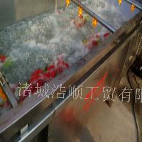 蔬菜水果气泡清洗机 蘑菇自动喷淋毛刷清洗