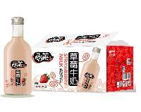 怡莱草莓牛奶 330ml玻璃瓶 餐饮酒店烘培*