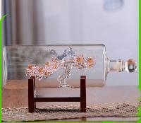 空心喜鹊登梅玻璃酒瓶创意梅花造型酒瓶工艺酒瓶